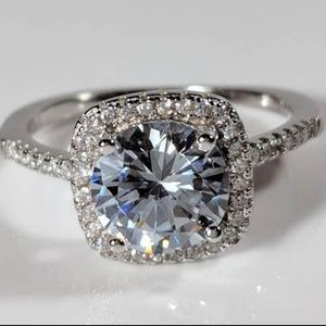NEW 2 ct Halo CZ Solitaire Engagement Ring